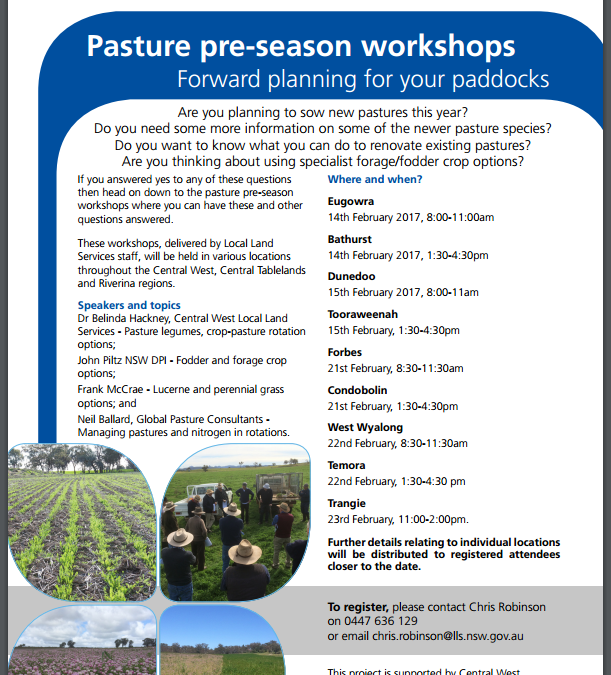 Pasture Pre-Season Workshops