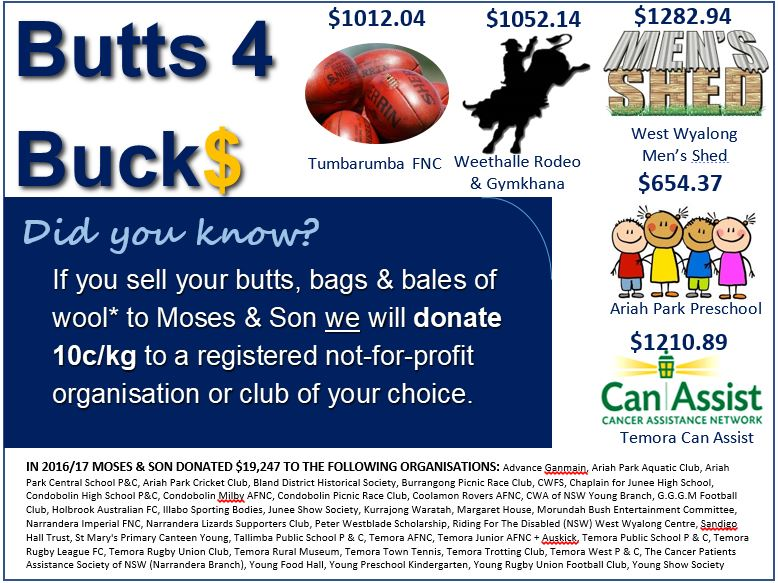 Butts 4 Buck$ – Cleaning out your shed, drop your cash wool in to your local store