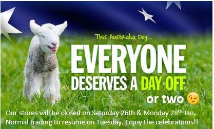 Closed Australia Day