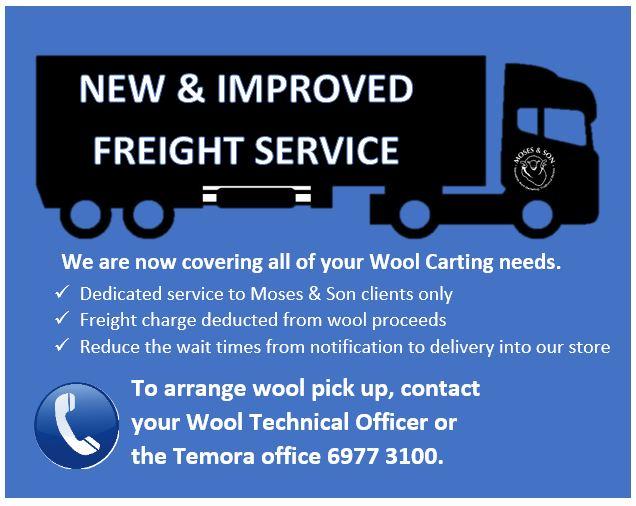Dedicated Wool Carting Service – call 6977 3100